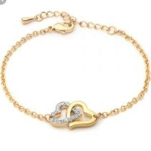 Swarovski gold heart bracelet